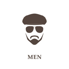 Head of bearded man with tweed cap and sunglasses.