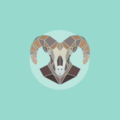 Vector geometric head mountain sheep.