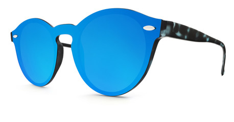 spotted sunglasses blue mirror lenses isolated on white background