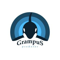 Logo orca whale. Grampus predator.