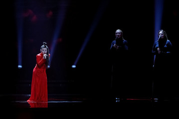 """Lithuania's Fusedmarc performs with the song """"Rain Of Revolution"""" during the Eurovision Song Contest 2017 Semi-Final 2 Dress rehearsal 1 at the International Exhibition Centre in Kiev"""