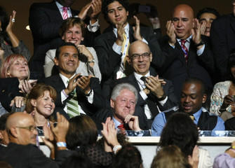 Former U.S. president Bill Clinton is applauded after wife mentions him in her speech at the 2008 Democratic National Convention in Denver