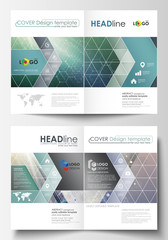 Business templates for bi fold brochure, magazine, flyer, booklet. Cover design template, vector layout, A4 size. Chemistry pattern, hexagonal molecule structure. Medicine, science, technology concept