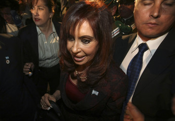 Argentina's President Cristina Fernandez speaks after the end of a meeting in Santiago