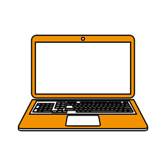 color silhouette cartoon ochre laptop computer with keyboard vector illustration