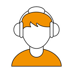 color silhouette cartoon faceless half body guy with headphones vector illustration