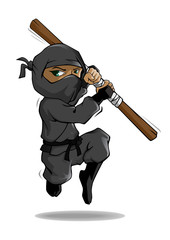 A cartoon ninja in action with stick. Vector mascot illustration