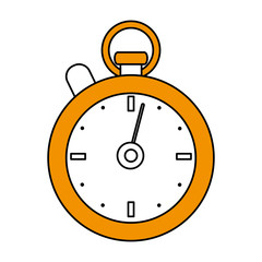 color silhouette cartoon yellow stopwatch icon vector illustration