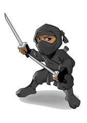 Ninja Mascot or cartoon character ready to fight handle two swords. Vector cartoon illustration.