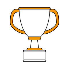 color silhouette cartoon cup trophy with double handles vector illustration