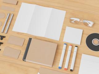 Corporate Identity. Branding Mock Up. Office supplies, Gadgets. 3D illustration