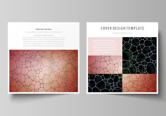 Business templates for square design brochure, flyer. Leaflet cover, vector layout. Chemistry pattern, molecular texture, polygonal molecule structure, cell. Medicine, science or microbiology concept.