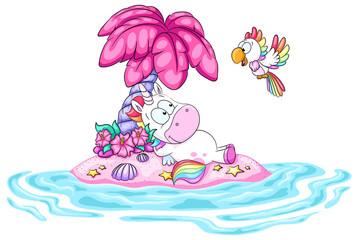 Einhorn auf pinker Insel Vektor Illustration