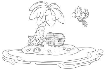 Niedliche Schatzinsel mit Kakadu Vektor Illustration