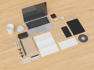 Canvas Prints Textures Corporate Identity. Branding Mock Up. Office supplies, Gadgets. 3D illustration