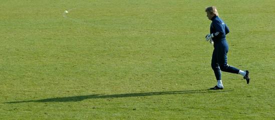 Germany's national soccer team goalkeeper Kahn runs during training session in Hamburg