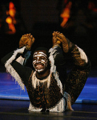 An actor of Baobab circus from Africa performs during a show at Jorge Isaacas theatre in Cali
