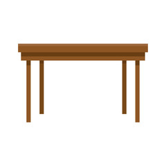 wooden table furniture on white background vector illustration