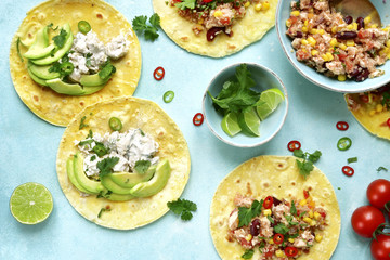 Assortment of chicken tacos - traditional dish of mexican cuisine.Top view.