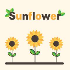 cartoon sunflower set with text