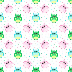 Cute sad pink, blue, green colored owls