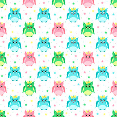 Green, pink, blue owls with bows