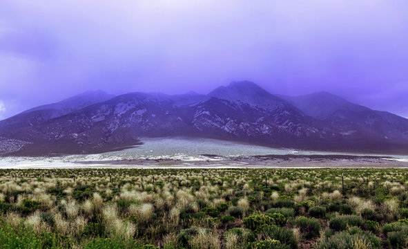 Dramatic fog covered,mountain and ranch field before a storm, southern Colorado