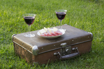 Romantic summer picnic on the grass with wine and a vintage suitcase