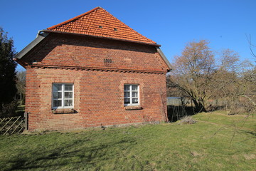Former foal stable on palace grounds in Griebenow, Mecklenburg-Vorpommern, Germany