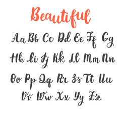 Hand draw alphabet. Uppercase and lowercase letters. Calligraphy font. Hand lettering