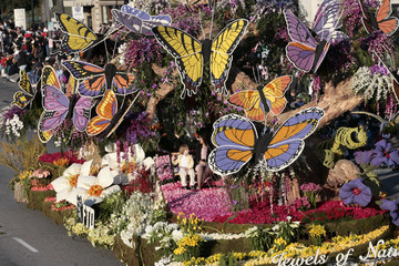 Sweepstakes trophy winner ''Jewels of Nature'' moves down Colorado Boulevard during the 118th Tournament of Roses Parade in Pasadena