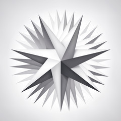 ПечатьVolume rotation seven-pointed twisted star, 3d object, geometry shape, mesh version, abstract vector