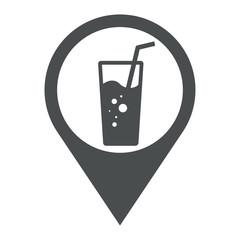 Icono plano localizacion vaso de refresco gris
