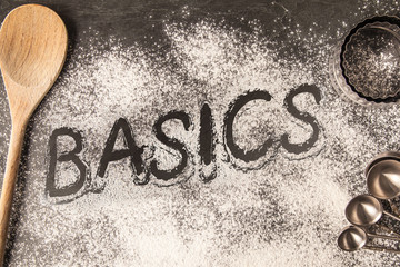 Handwritten word drawn in the flour - basics