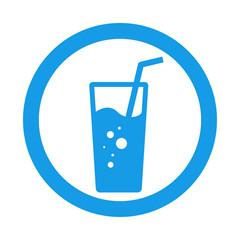 Icono plano vaso de refresco en circulo color azul