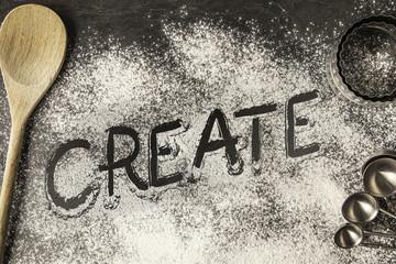 Handwritten word drawn in the flour - Create