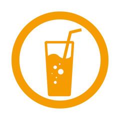Icono plano vaso de refresco en circulo color naranja