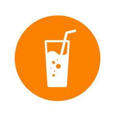 Icono plano vaso de refresco en circulo naranja
