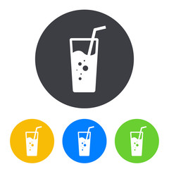 Icono plano vaso de refresco en circulo varios colores