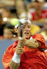 Nalbandian of Argentina returns a shot to Gonzalez of Chile at the US Open tennis tournament in New York.