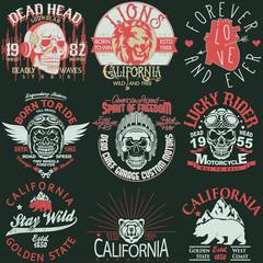 T-shirt stamp graphic set, California Sport wear typography emblem set. vector