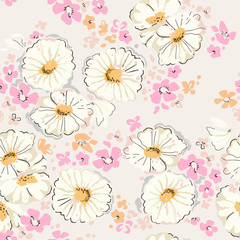 Pastel daisies print - seamless background