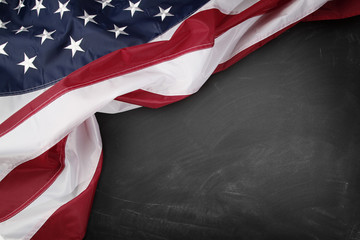 USA flag on blackboard