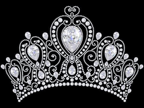 3D illustration diamond crown tiara