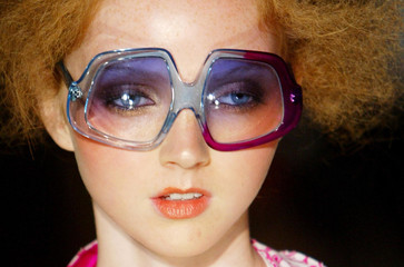 A model wears a design by Frost French on first day of London Fashion Week.