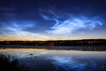 Printed kitchen splashbacks Night Noctilucent clouds at night sky