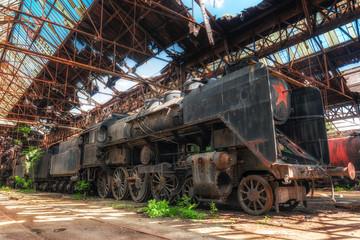 Old industrial locomotive in the garage