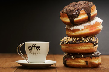 coffee and a stack of donuts