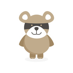 cute flat bear character with mask on face