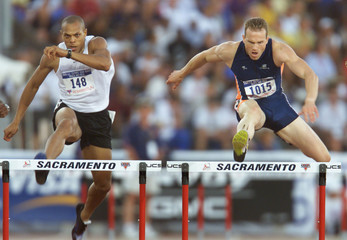 JOEY WOODY WINS SEMI FINAL RACE IN 400M HURDLES AT OLYMPIC TRIALS.